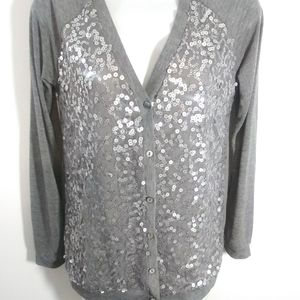 Audrey Ann Silver Sequin Cardigan Top